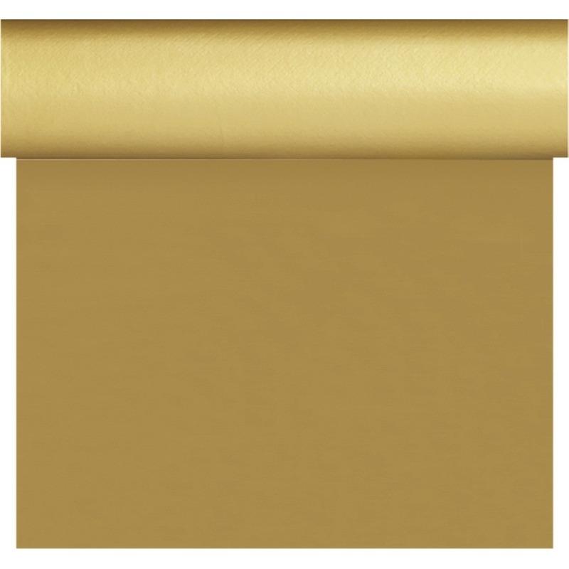 Kerst thema tafelloper/placemats goud unikleur 40 x 480 cm