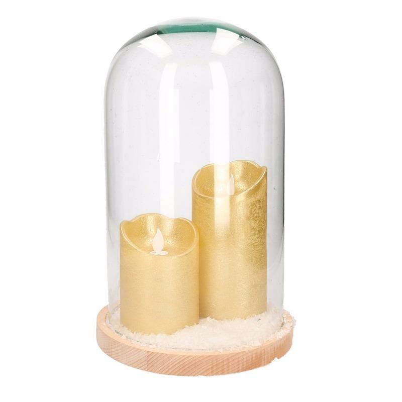 Kerst woondecoratie stolp met 2 gouden LED kaarsen