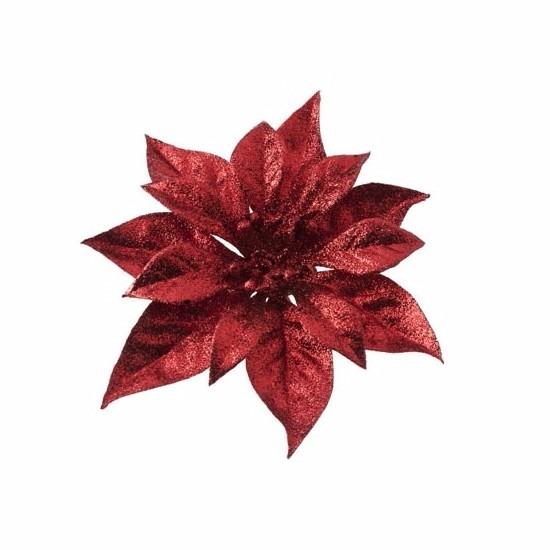 Kerstboom decoratie bloem op clip rood 18 cm