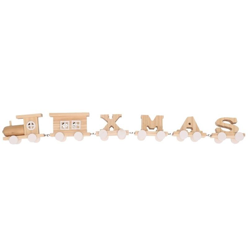 Kerstdecoratie houten letter trein XMAS 46 cm Kersttreinen