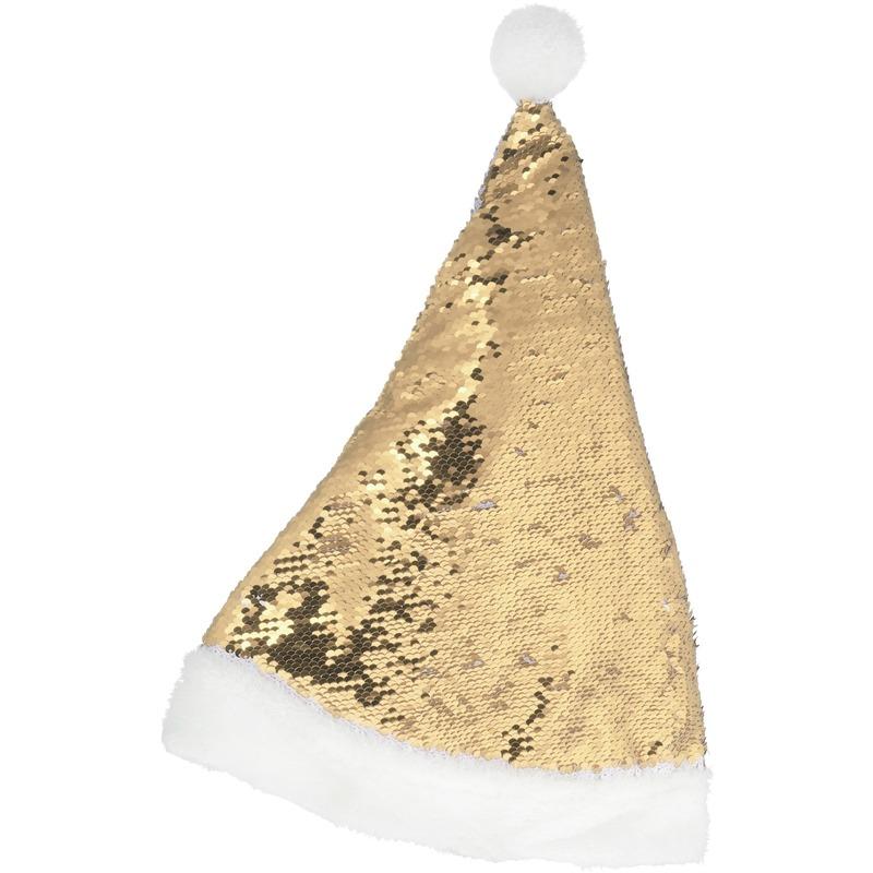Kerstmuts omkeerbare pailletten goud/wit 47 cm voor volwassenen