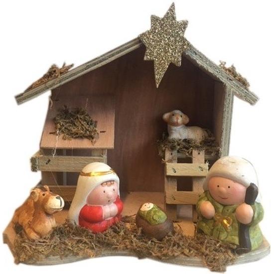 Kerststal van hout 20 cm