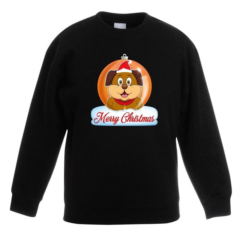 Kersttrui Merry Christmas hond kerstbal zwart kinderen