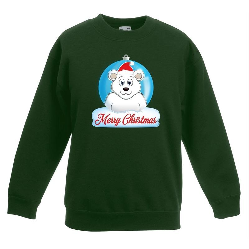 Kersttrui Merry Christmas ijsbeer kerstbal groen kinderen