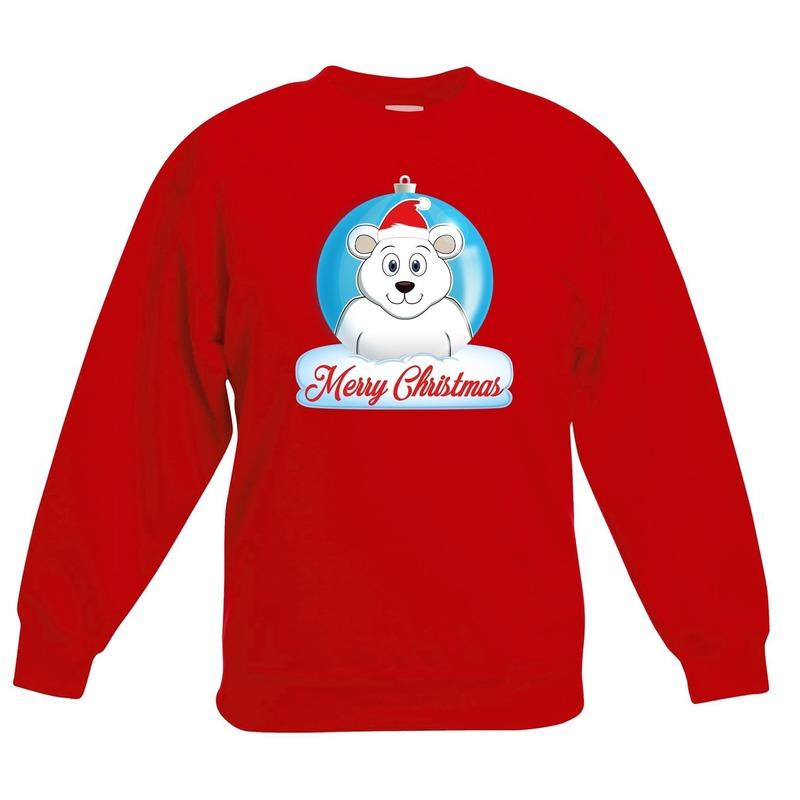 Kersttrui Merry Christmas ijsbeer kerstbal rood kinderen
