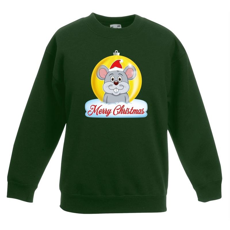 Kersttrui Merry Christmas muis kerstbal groen kinderen