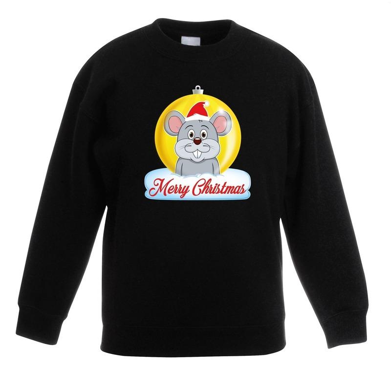 Kersttrui Merry Christmas muis kerstbal zwart kinderen