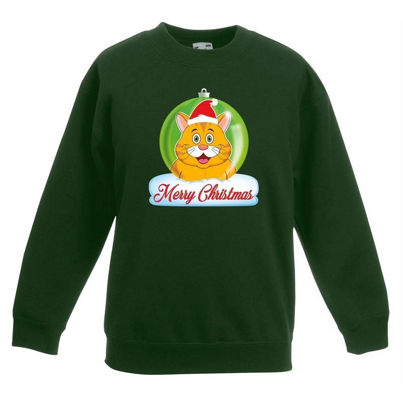 Kersttrui Merry Christmas oranje kat / poes kerstbal groen kinde