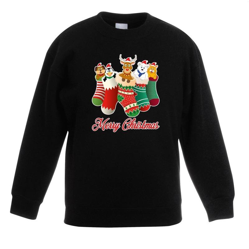 Kersttrui kerstsokken merry christmas zwart voor kinderen