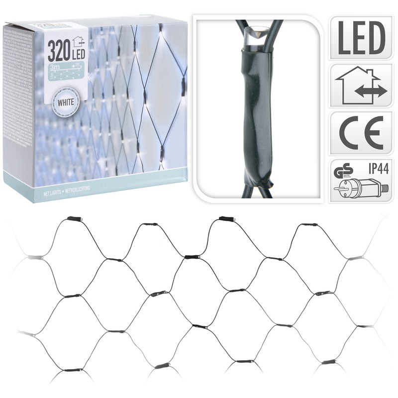 Kerstverlichting koel wit LED netverlichting 150 x 300 cm