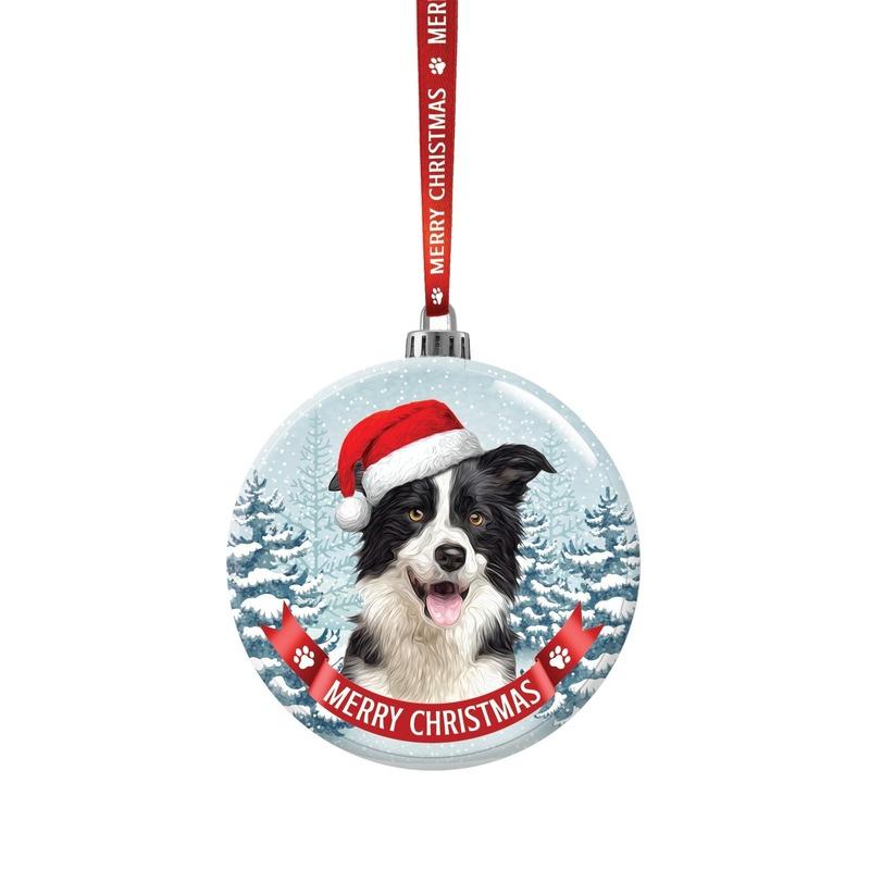 Kerstversiering glazen kerstbal Border Collie hond 7 cm