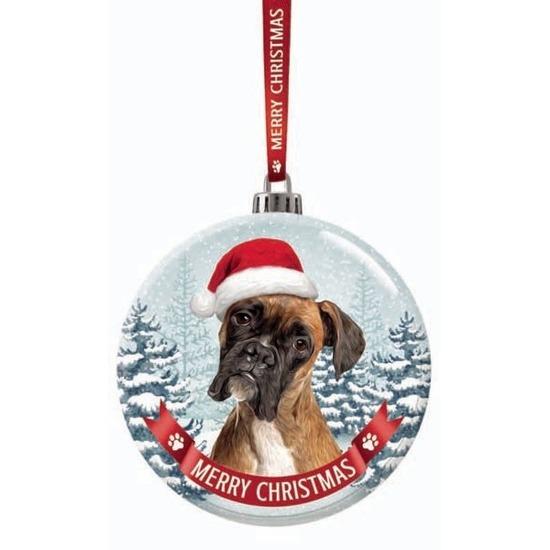 Kerstversiering glazen kerstbal Boxer hond 7 cm