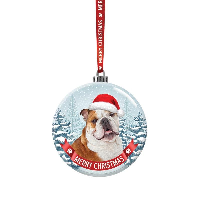 Kerstversiering glazen kerstbal Bulldog hond 7 cm