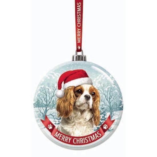 Kerstversiering glazen kerstbal Cavalier King Charles Spaniel ho