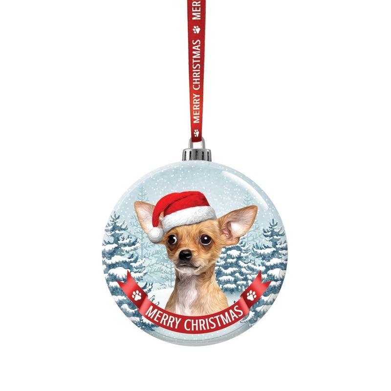 Kerstversiering glazen kerstbal Chihuahua hond 7 cm