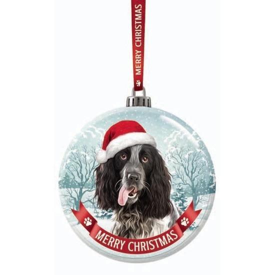 Kerstversiering glazen kerstbal Engelse Cocker Spaniel zwart/wit