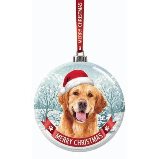 Kerstversiering glazen kerstbal Golden retriever hond 7 cm
