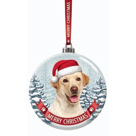 Kerstversiering glazen kerstbal Labrador blond hond 7 cm