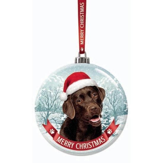 Kerstversiering glazen kerstbal Labrador bruin hond 7 cm