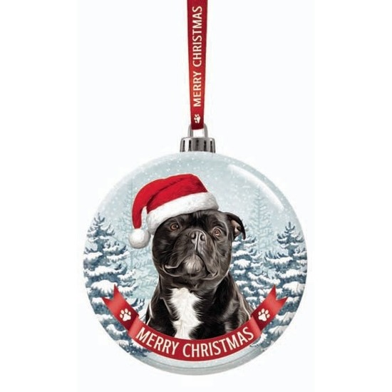 Kerstversiering glazen kerstbal Staffordshire Bull Terrier hond