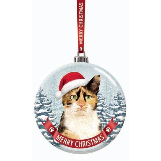 Kerstversiering glazen kerstbal lapjes kat/poes 7 cm
