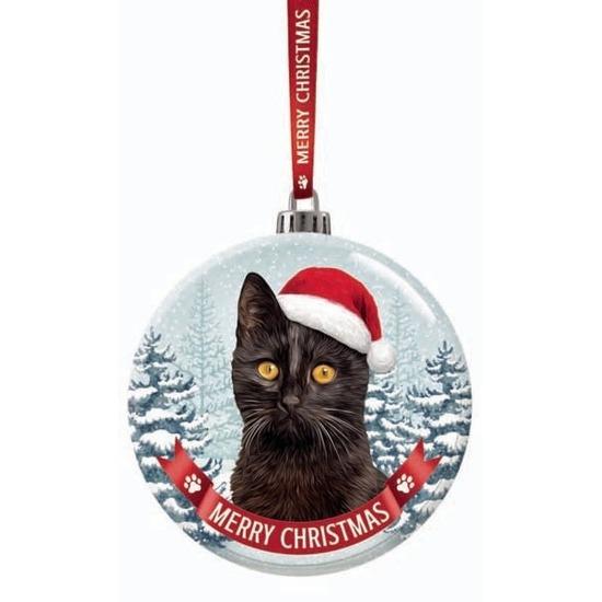 Kerstversiering glazen kerstbal zwarte kat/poes 7 cm