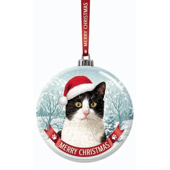 Kerstversiering glazen kerstbal zwart/witte kat/poes 7 cm