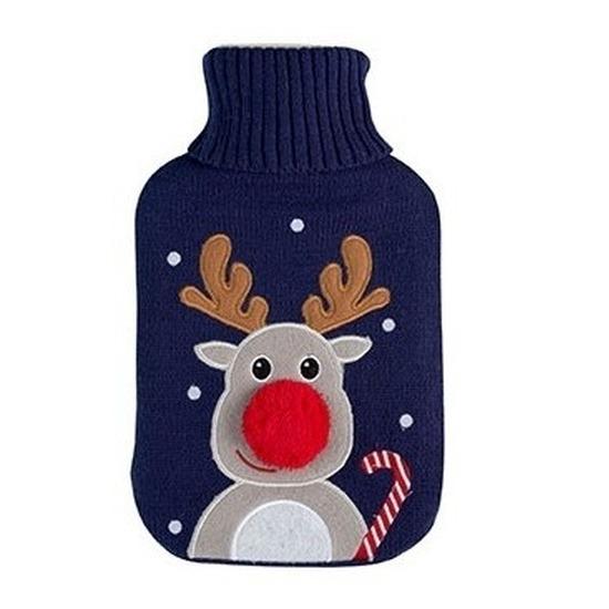 Kruik Kerst rendier blauw gebreide hoes 2 liter