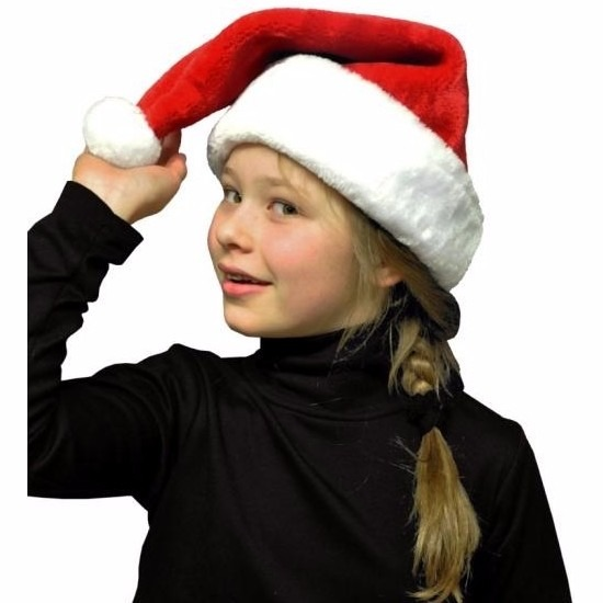 Pluche kerstmuts rood/wit voor kinderen