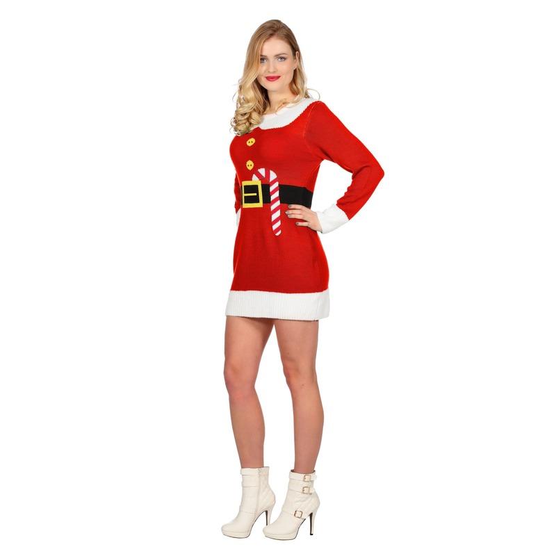 Rode kerst jurk met print voor dames