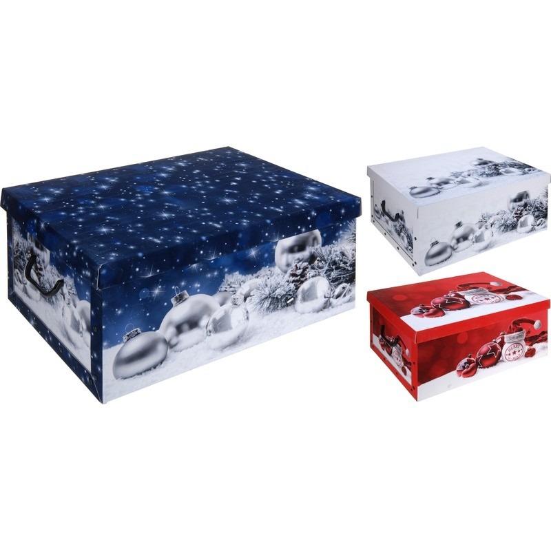 Rode kerstballen/kerstversiering opbergbox 49 cm