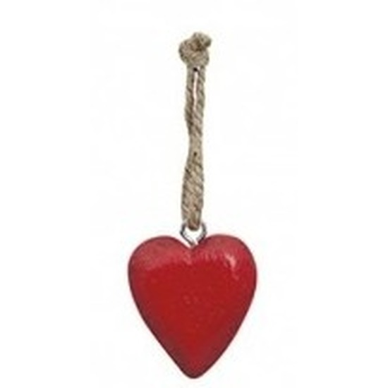 Rood hartje aan touwtje 5 cm