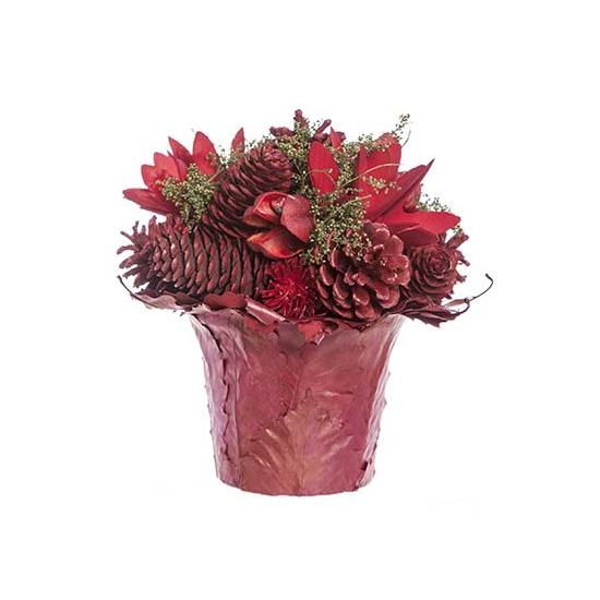 Rood kerststukje in pot 16 cm