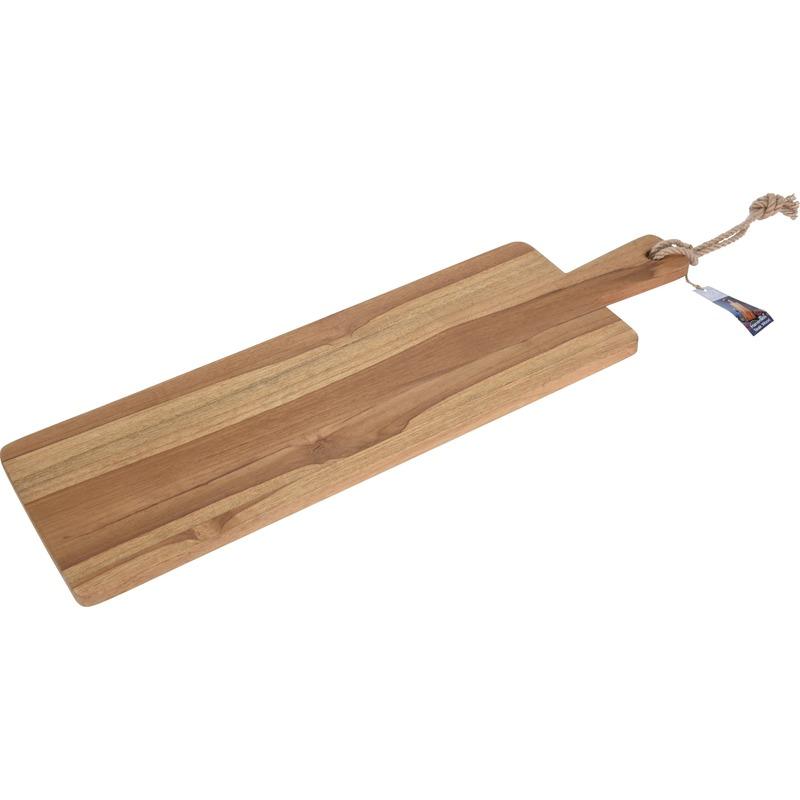Teak houten kaarsenplateau met handvat 69 cm