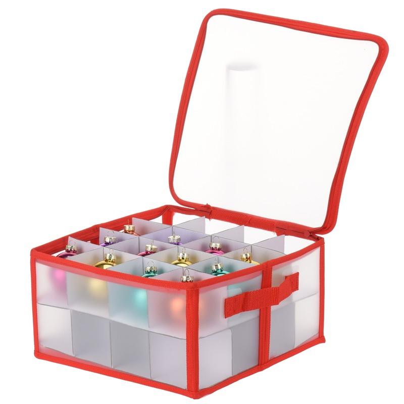 Transparante kerstballen opbergbox voor 32 kerstballen van 6 cm