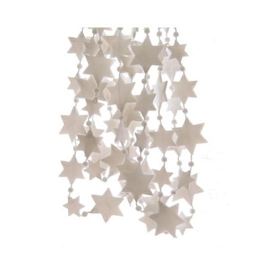 Winter witte sterren kralenslinger kerstslinger 270 cm