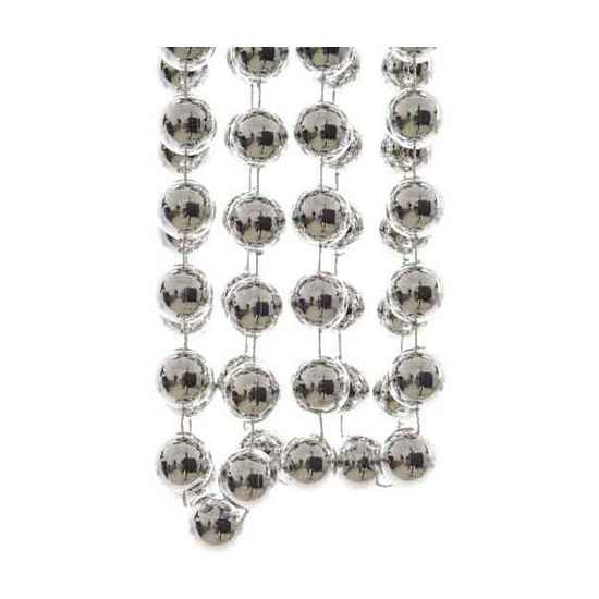 Zilveren XXL kralenslinger kerstslinger 270 cm
